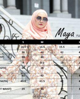 MAYA Floral Sizing Chart