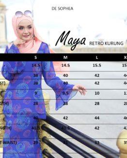MAYA Retro sizing Chart